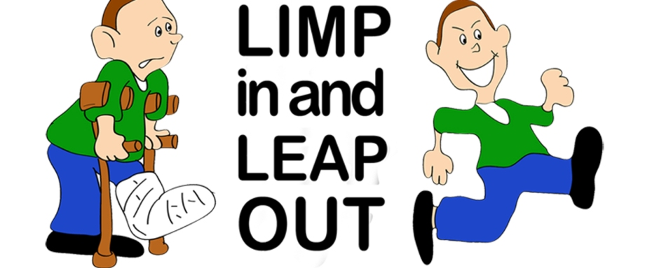 Limp in leap out sports injury